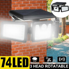 74 LED Solar Light Outdoor Motion Sensor Solar Security Light 3-Head Spotlight