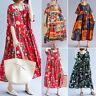 Women Batwing Long Shirt Dress Floral Print Flower Midi Dress T-Shirt Dress Plus