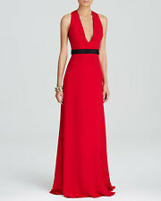 JILL STUART ~ Red Crepe Deep V Cutout Twist Back Formal Gown 12 NEW $258