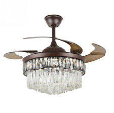 Crystal Ceiling Fan Chandelier, 42 Inches Modern Invisible Ceiling Fan Light