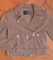 AllSaints Women's Light Brown Beige HIND Suede Leather Biker Jacket UK 10