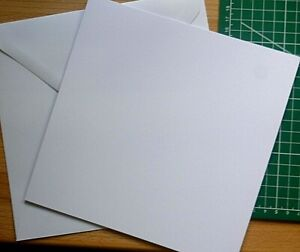 1,5,10,- 8 inch sq White/Cream Blank Greeting Craft Cards with Env. Pre-Scored