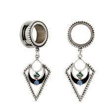 DANGLE DIAMOND GEM Stainless Steel Ear Tunnels Piercing Stretcher Jewelery TU137
