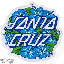 "SANTA CRUZ ""Hibiscus Dot"" Skateboard Snowboard Surfboard Sticker Decal 8cm Blue"