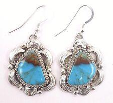 Navajo Handmade Kingman Turquoise Earrings Set In Sterling Silver-Gilbert Tom