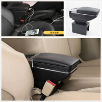 Auto Center Armrest Storage Box LED Light USB Charging Car-styling Accessories