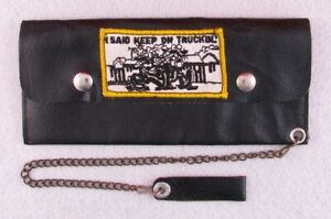 "70s VTG 9"" Leather Keep On Truckin' Biker Trucker Chain Safety Motorcycle Wallet"