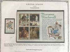 Us Stamps- #2840- Norman Rockwell, Souvenir sheet and stamp both Mnh