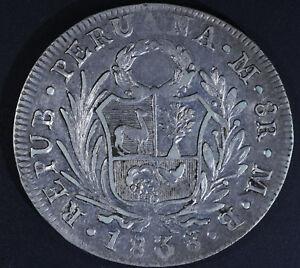 1838 PERU 8 Reales Silver Coin KM#155