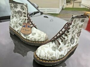 Dr Martens 1460 grey white leather boots UK 9 EU 43 Made in England
