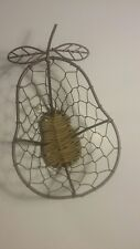 Vintage pear shaped wire basket with hand woven bottom