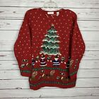 Vtg Lord & Taylor Sz Sm Ugly Christmas Sweater Tree Beads Bells Bows