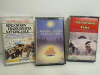 Christmas Music Lot of 3 Cassette Tapes Nashville Bing Crosby Frank Sinatra Nat