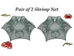 Pair of Shrimp Net 6 Holes Foldable Fishing Cast Cage Crab Crayfish Prawn Trap