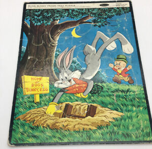 """Vintage Large Frame-Tray Puzzle BUGS BUNNY 14 1/2"""" Tall 1963 Warner Bro Whitman"""