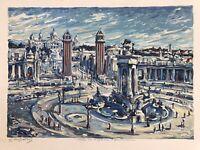 Serigraph - Barcelona - Midcentury By C Scheller Amazing Impressionist Work