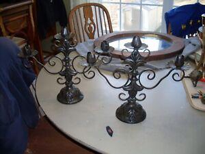 "Pair French Fleur de Lis 3 Arm Candle Holders Candelabra Brown Black Iron 17""x14"