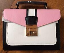 Box Bag Occasion Handbag Black, Pink & White Detachable Shoulder Strap New