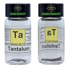 Tantalum metal element 73 Ta sample shiny sheet 99,99% 1cm in labeled glass vial