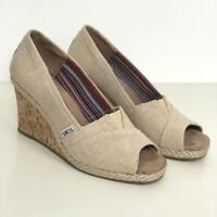 TOMS Beige Canvas Leather Lining Calypso Espadrille Cork Peep Toe Wedges Size 7