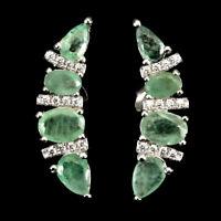Unheated Oval Green Emerald 6x4mm Cubic Zirconia 925 Sterling Silver Earrings
