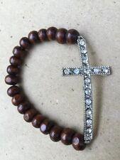 ✝✝ BRACELET Silvertone Crystal CROSS W/ Brown Wooden Beads Stretch RELIGIOUS