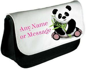 Personalised PANDA Pencil Case/Make Up Bag *Choice of text colour*