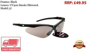 RayZor Black Sports Wrap Sunglasses Uv400 Smoked Mirrored Lens (37)