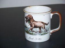Irish Setter MUG, dog carrying bird, gray with brown