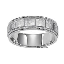 10K WHITE GOLD MENS WEDDING BANDS,HAMMERED 6MM SOLID GOLD WEDDING RINGS