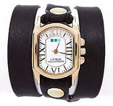 LA MER Black Italian/Gold Chateau Wrap Watch