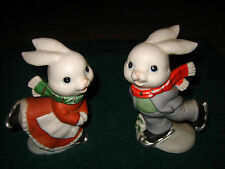 SET OF A GIRL & BOY BUNNY RABBIT FIGURINES ICE SCATING~BY HOMCO~#5305~SO CUTE~