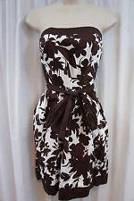 B. Darlin Dress Sz 11 12 Off White Brown Strapless Belted Waist Summer Dress
