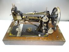 Antique Old Working Metal Iron Wood Graybar model 1 USA Sewing Machine w/ Case