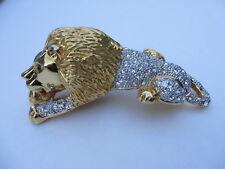 Vintage Huge Lion Pin - To Wear on Shoulder with Brilliant Rhinestones