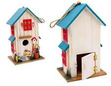 Casetta bianca per uccelli, tetto blu, cm 24x15x13, voliera casa uccellini
