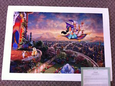 "Thomas Kinkade "" Aladdin "" Signed & Numbered Disney Lithograph Paper 24 x 36"