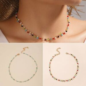 2021 Boho Colorful Beads Chain Choker Necklace Women Handmade Party Jewelry Hot