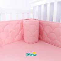 "Baby Breathable Crib Bumper Pad Protector Crib Padded Liners 4PCs 52"" x 28"" Pink"