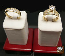 Real 10k Yellow Gold,Round Cut Diamond Trio-Set,Bridal,Wedding,Engagement Ring
