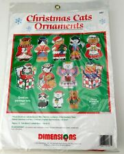 Christmas Cats Ornaments plastic CROSS STITCH Plastic Point Canvas Kit Sealed