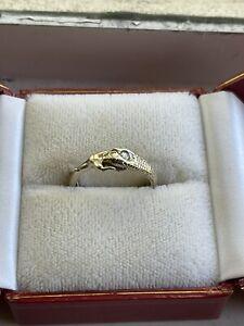 digby and iona resting nagini ring - 14k WG w/ Diamond And Emerald Custom Made