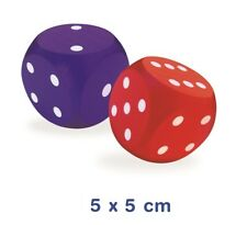 NEW 1x Large 6 sided WOODEN DICE 5 x 5cm Blue or Red Dice Game