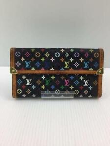 Authentic Louis Vuitton Monogram Black Multi Color Porto Tresor Long Wallet