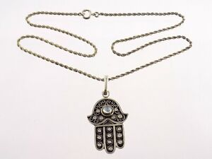 Sterling Silver Hamsa Hand Moonstone Pendant Necklace 925 20.25 Inches 14.2G