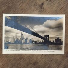 Brooklyn Bridge, East River. New York City  USA Postcard. Ref015