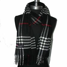 "New 100% Cashmere Scarf White Black red Scotland Wool Check Plaid Wrap ""B1-T"""