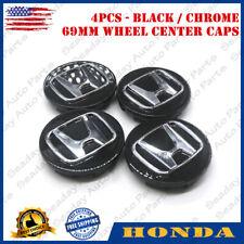 4PCS New 3D Gloss Black Classic Wheel Center Hub Caps Emblem For Honda 69MM