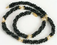 """VINTAGE DESIGNER 14K YELLOW GOLD FRESHWATER PEARL AND BLACK BEAD NECKLACE 22"""""""