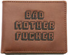 PULP FICTION LEATHER EMBROIDERED BROWN BAD MOTHER F**KER WALLET WITH COIN POCKET